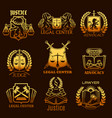 advocacy lawyer gold icons legal justice vector image vector image