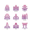 asian cities and counties landmarks icons set 2 vector image vector image