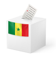 Ballot box with voting paper Senegal vector image vector image