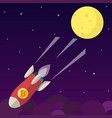 bitcoin icon rocket ship in flat style vector image vector image
