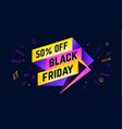 black friday 3d sale banner with text 50 percent vector image