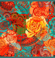 bright floral pattern with stylized roses vector image vector image