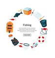 cartoon fishing equipment vector image vector image