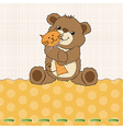 childish greeting card with teddy bear and his toy vector image vector image
