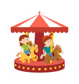 children have fun in park and ride on carousel vector image vector image