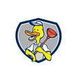 Duck Plumber Holding Plunger Shield Cartoon vector image vector image
