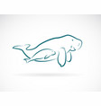 dugong mother and dugong child on white vector image vector image