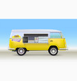fast food truck with equipment and bar counter vector image