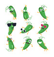 funny cucumber - isolated cartoon emoticons vector image vector image