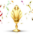 golden cup gilded metal object leader tag vector image vector image
