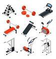 gym equipment isometric set vector image vector image
