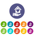 hand house icons set color vector image
