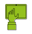 hand with tablet icon image vector image vector image