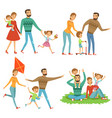 happy family walking in park funny characters set vector image vector image
