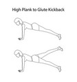 high plank to glute kickback exercise outline vector image vector image