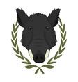 Hunting trophywild boar head in laurel wreath No vector image vector image