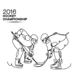Ice Hockey 2016 Championship concept art one line vector image