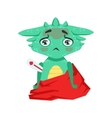 Little Anime Style Baby Dragon With Fever Feeling vector image vector image