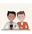 Men Friends Watching in Smartphone vector image vector image