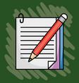 notebook paper with pencil school utensils vector image vector image