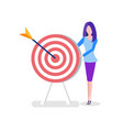 office worker with target or aim and arrow woman vector image vector image