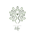 original life logo template with leaves and human vector image vector image