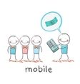 people buy mobile vector image vector image