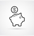 piggy bank flat line trendy black icon eps10 vector image vector image