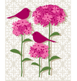 pink botanical with birds vector image vector image