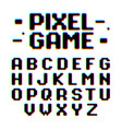 pixel game retro style pixel font with distortion vector image vector image