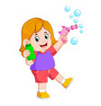 playing with bubble and holding bottle vector image
