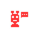 red pixel chatbot icon vector image vector image