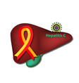 red yellow ribbon the liver c world hepatitis day vector image vector image