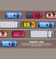 road full of cars and trucks top angle view vector image vector image