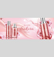 sakura cosmetics bottles mockup banner face care vector image vector image