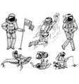 set astronauts in space collection soaring vector image vector image