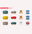 set of stools for home and office design vector image