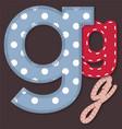 set stitched font - letter g vector image vector image
