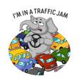 standing in a traffic jam steering wheel in hands vector image