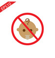 stop or ban sign with child icon isolated on white vector image vector image