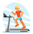 strong man running treadmill simulator fitness vector image