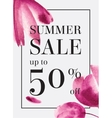 Summer sale up tu 70 per cent off Watercolor vector image vector image