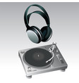 turntable and headphone vector image vector image