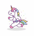 unicorn running and listening music vector image vector image