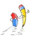 walking cartoon lead pencil vector image vector image