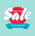 winter sale off or seasonal discount banner design vector image