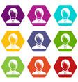 woman icon set color hexahedron vector image vector image