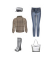 women set sweater pants hat bag and boots vector image vector image