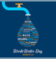 world water day concept for environment care vector image vector image