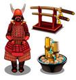 samurai katana on stand and decorative fountain vector image